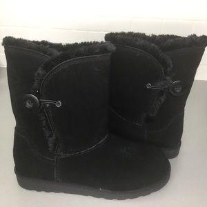 Black suede booties upper leather SZ 7